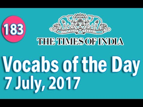 The Times of India Vocabulary (7 July, 2017) - Learn 10 New Words with Tricks | Day-183