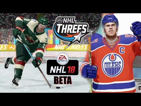 NHL 18 Beta NEW MODE! NHL Threes (3 vs 3) Minnesota Wild vs Edmonton Oilers Gameplay