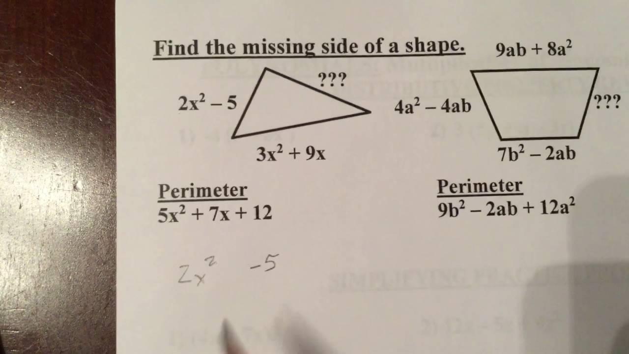 Kevin Find The Missing Side Perimeter