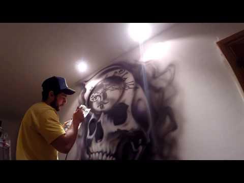 proki tattoo design airbrushed on wall