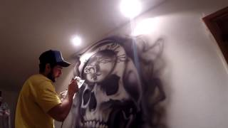 proki tattoo design airbrushed on wall