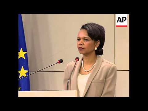 Rice with NATO, EC, leaders, comments on Iran, China