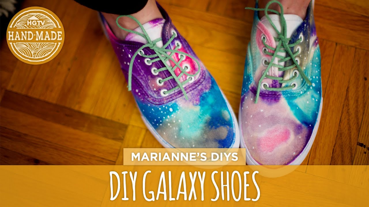 diy galaxy print shoes white shoes challenge week hgtv