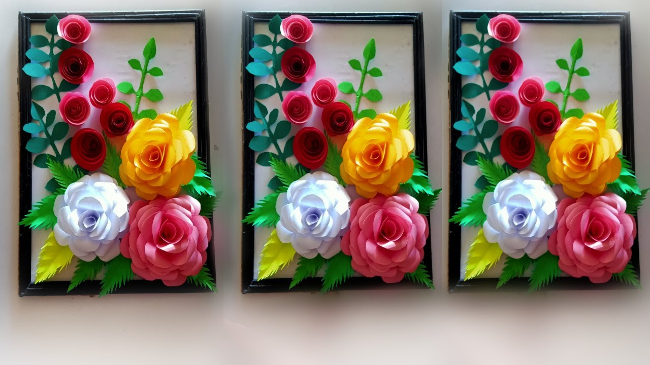 diy wall hanging flower frame make / how to make wall hanging flower frame
