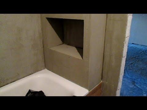 Часть-8. Как выполнить монтаж полок из гипсокартона над ванной