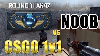 csgo 1v1   global elite vs noob   round 1 ak47