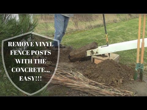 Remove Vinyl Fence Posts WITH Concrete! SUPER EASY!
