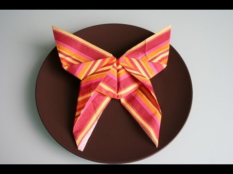 servietten falten schmetterling napkin folding butterfly youtube. Black Bedroom Furniture Sets. Home Design Ideas
