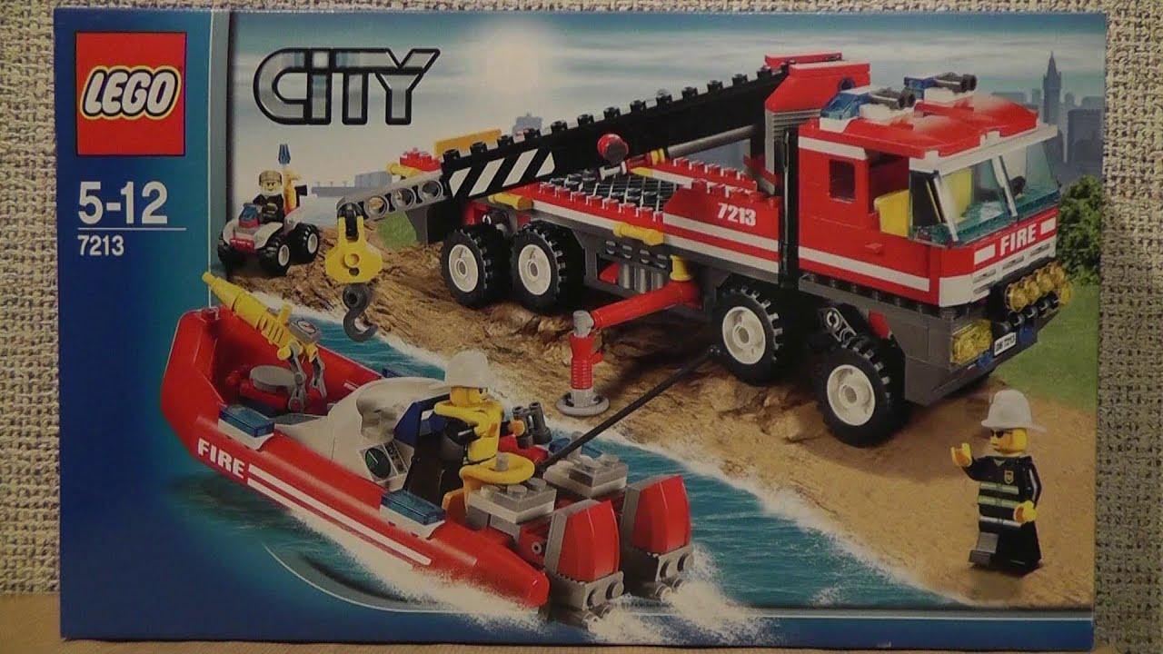 Lego City 7213 Terenowy Wóz Strażacki Z Motorówką Youtube