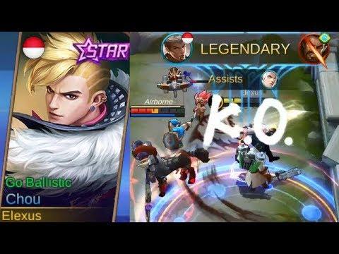 Chou Starlight Skin (August) GO BALLISTIC Full Legendary Gameplay - Mobile Legends