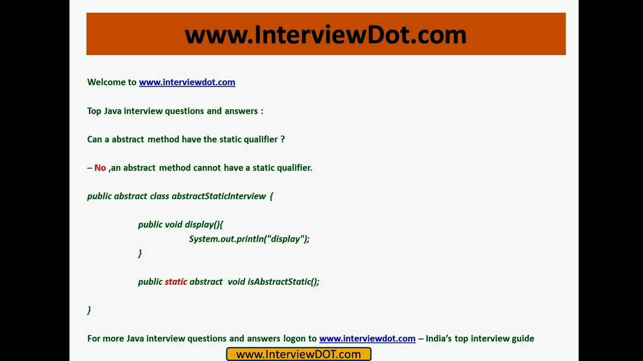 core java interview question and answer can an abstract method core java interview question and answer can an abstract method have static qualifier