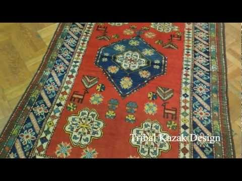 5x7 Pakistani Tribal Kazak Red & Navy Handmade Rug