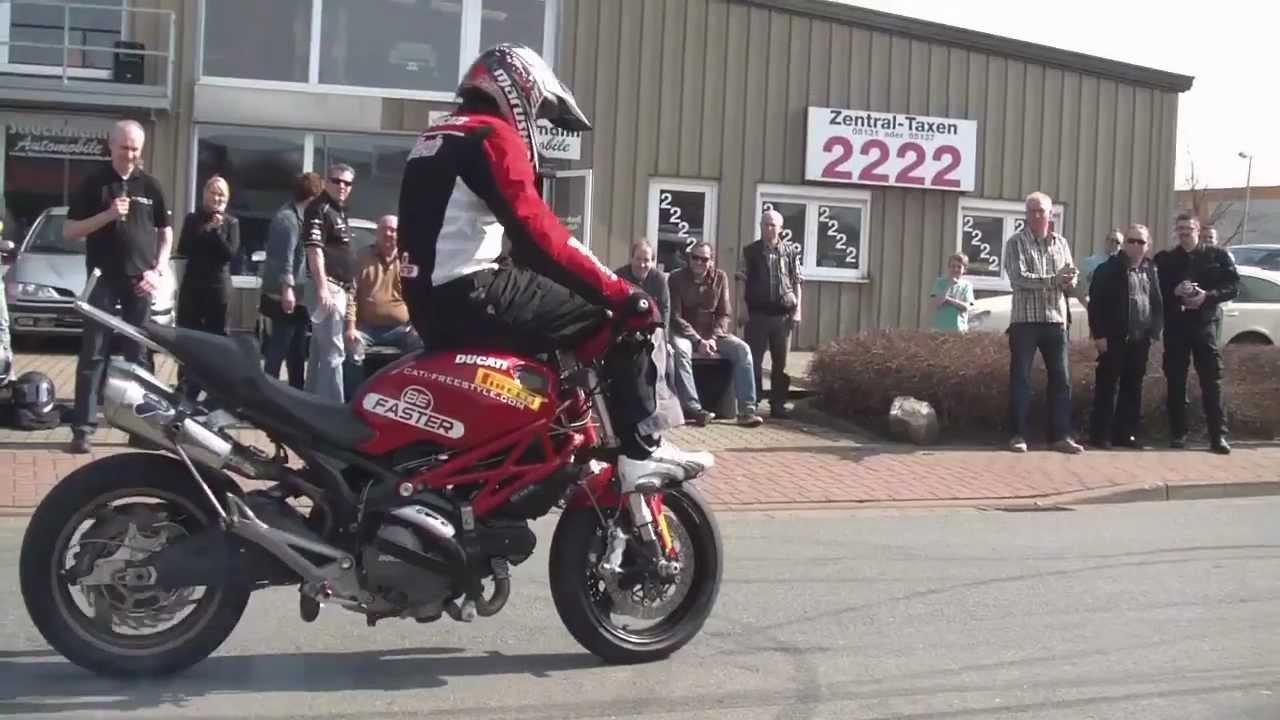 stunt ducati monster motorcycle season startup part 1 - youtube
