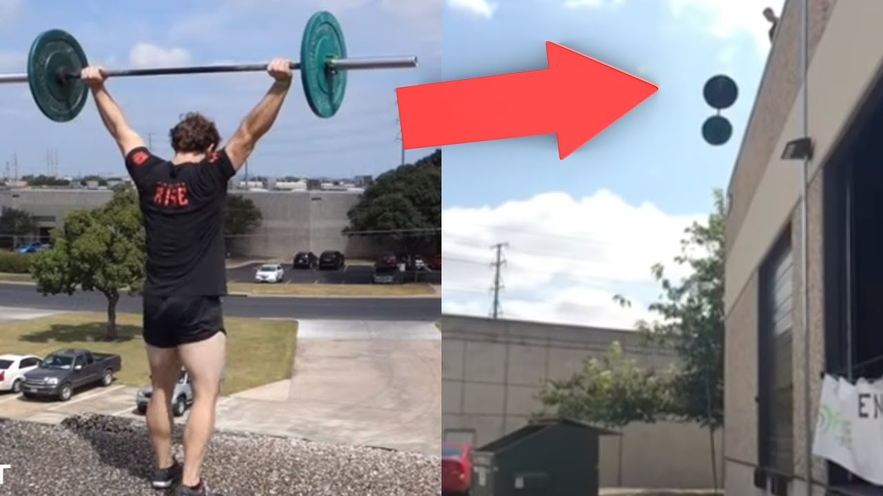 Bumper plates survive foot snatch drop off the roof youtube