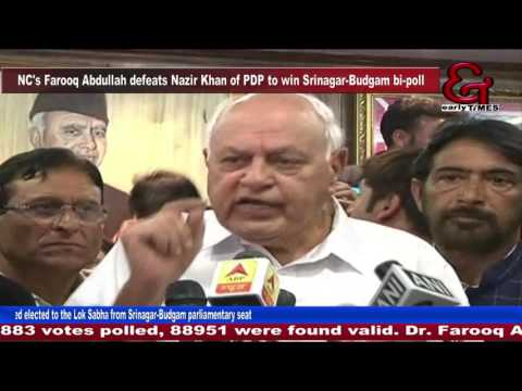 NC's Farooq Abdullah defeats Nazir Khan of PDP to win Srinagar-Budgam bi-poll