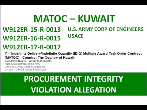 USACE  PROCUREMENT INTEGRITY ACT VIOLATION ALLEGATION  W912ER-17-R0017