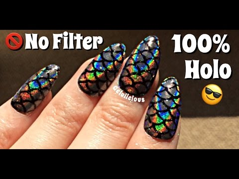 Holographic Mermaid Scales Nail Art Youtube