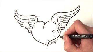 come disegnare un cuore con le ali