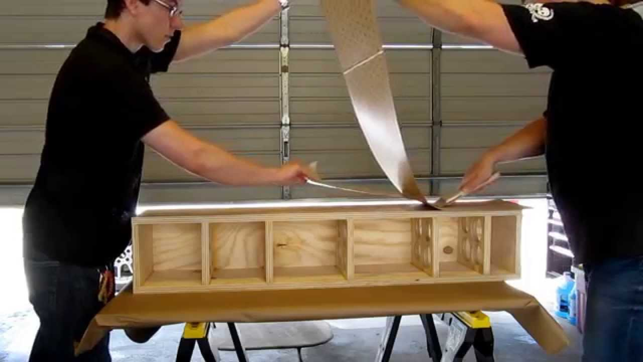 PSA veneer application on a speaker cabinet  YouTube