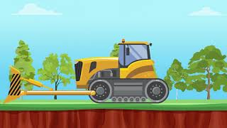 Buldożer, Spychacz, wywrotka, kopalnia węgla i pociąg towarowy animacja dla dzieci