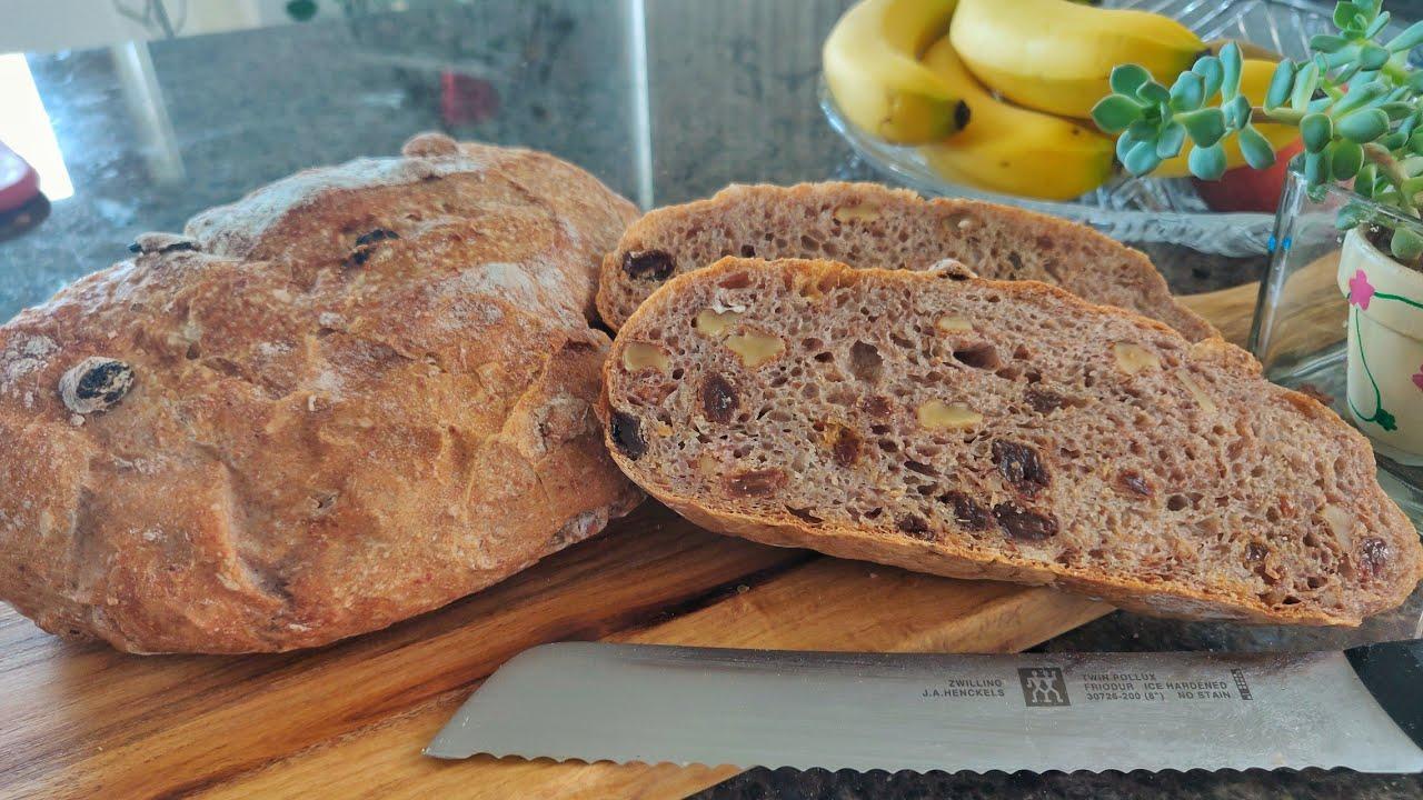 全麦肉桂葡萄干欧包 免揉无油无糖 whole wheat cinnamon raisin bread ,no knead,no oil,no sugar.