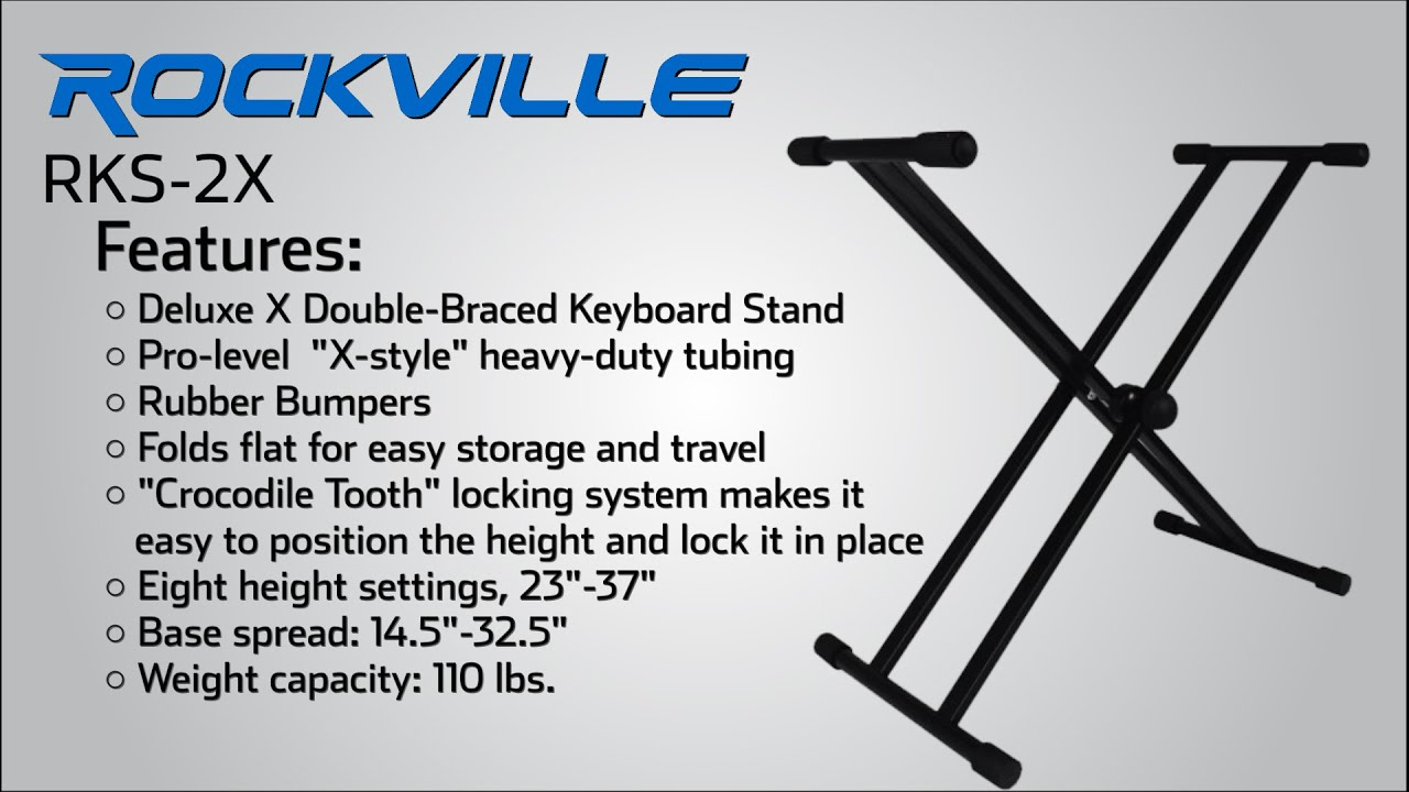Rockville Double X Braced Keyboard Stand w Push Button Lock For Yamaha PSREW300