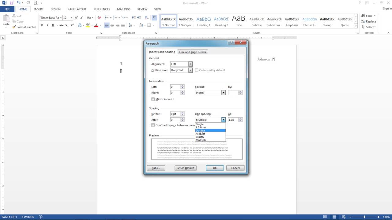 mla format microsoft word 2013