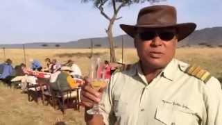 Champagne breakfast in the Masai Mara, with Sanjay from Governors Balloon Safaris