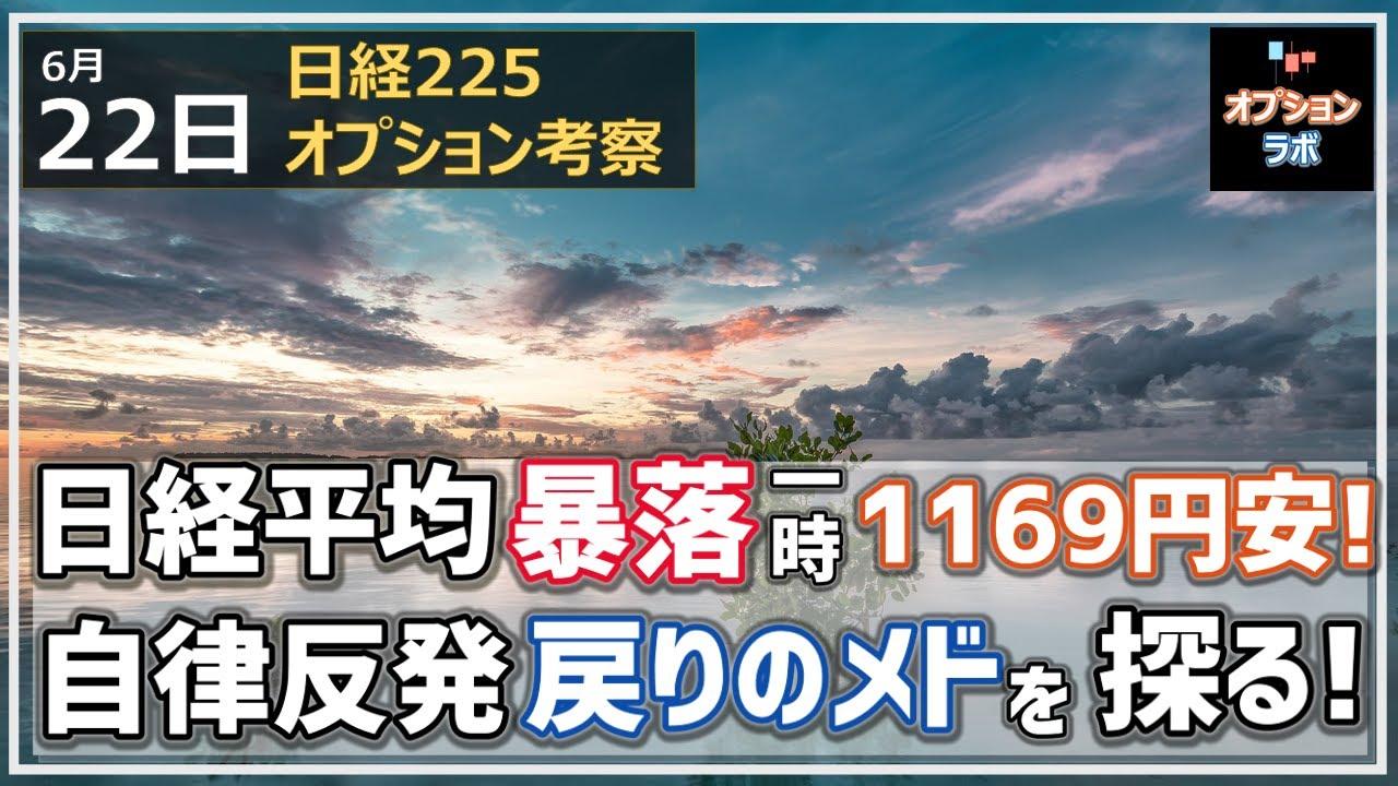 【日経225オプション考察】6/22 日経平均とうとう暴落! 一時1169円安に! 自律反発が期待される展開でそのメドを探ります!