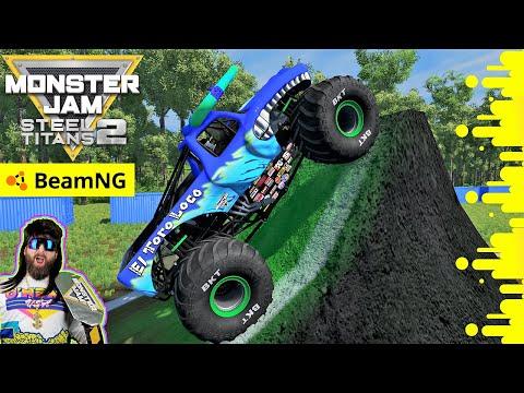 Monster Jam Steel Titans 2 and BeamNG Drive INSANE Backflips and Racing  