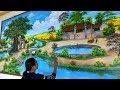 Vẽ tranh tường 3d phòng khách phong cảnh đồng quê. ĐT: 0969.033.288/Nhận dạy các khóa học vẽ tranh.