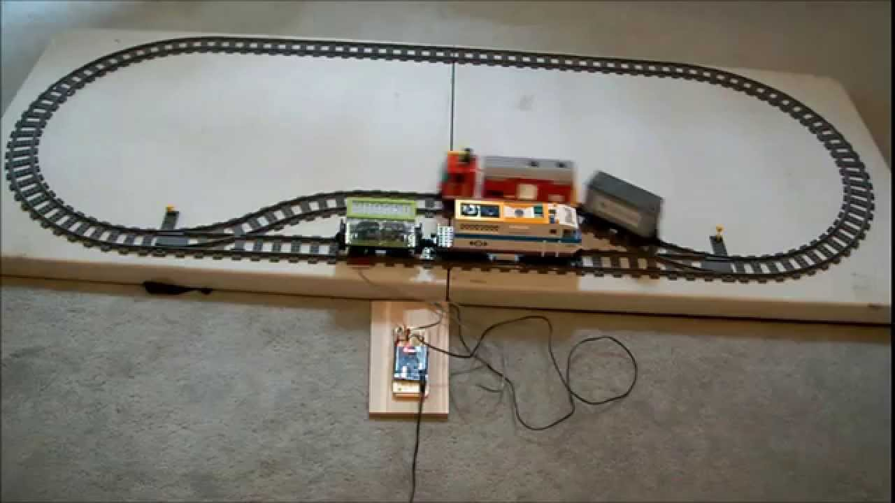 Two lego trains and arduino ir pf control youtube