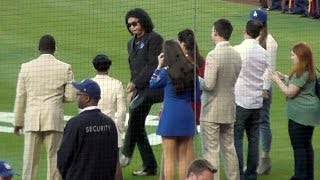 Gene Simmons of KISS Sings National Anthem at Dodgers 6-16-14