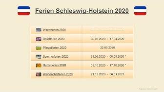 Ferien Schleswig-Holstein 2020 - Termine Schulferien