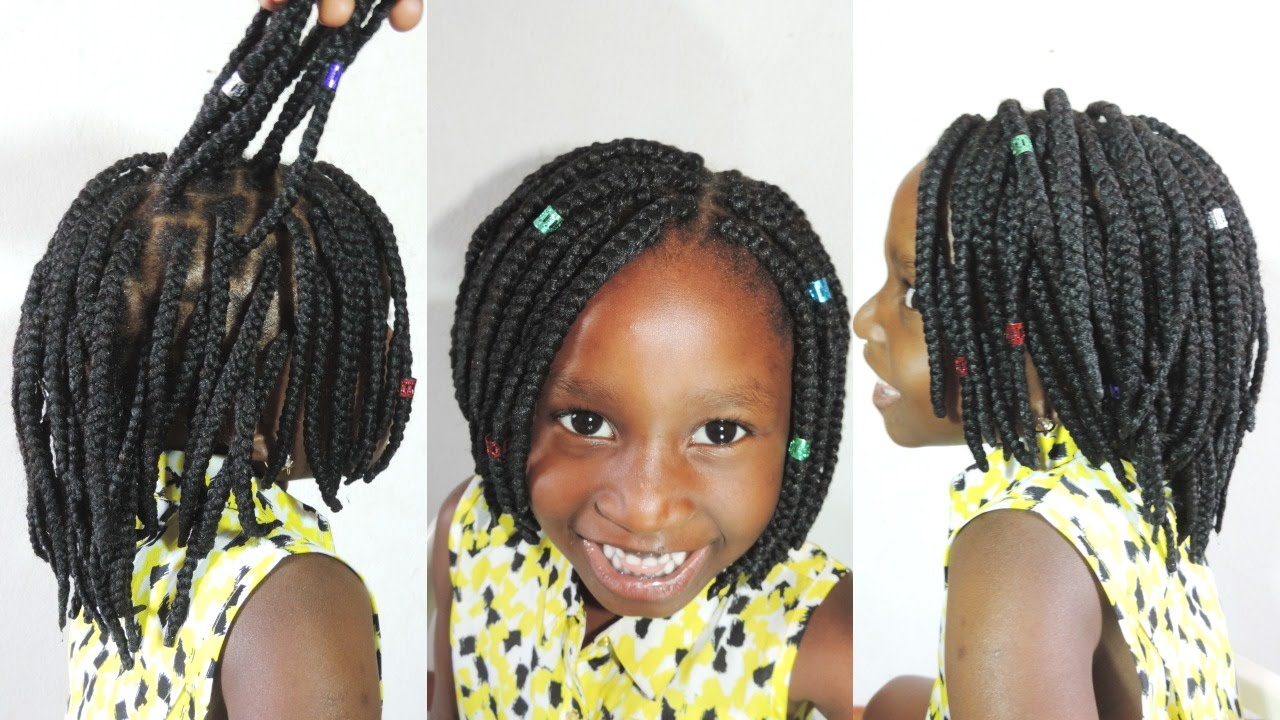 kids hairstyle || brazilian yarn box braids bob || back to school