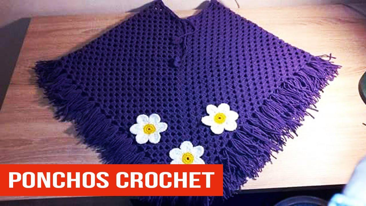 Poncho Para Niña Tejidos a crochet - YouTube