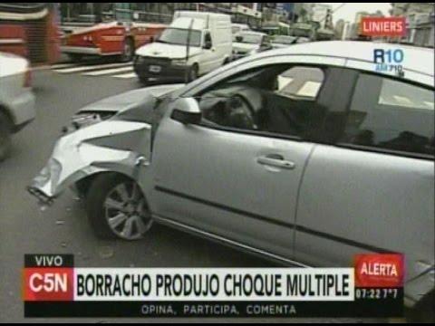 C5N - Transito: Borracho produjo choque multiple en Liniers (Parte 1)