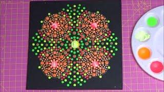 Dot painting with Artist Janette Oakman 38 Neon Glow in the Dark Symmetric Pointillism Mandala