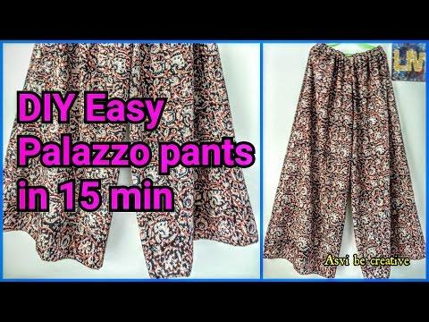 How To|DIY Easy Palazzo Pants in 15 min|Beginner|Split Skirt