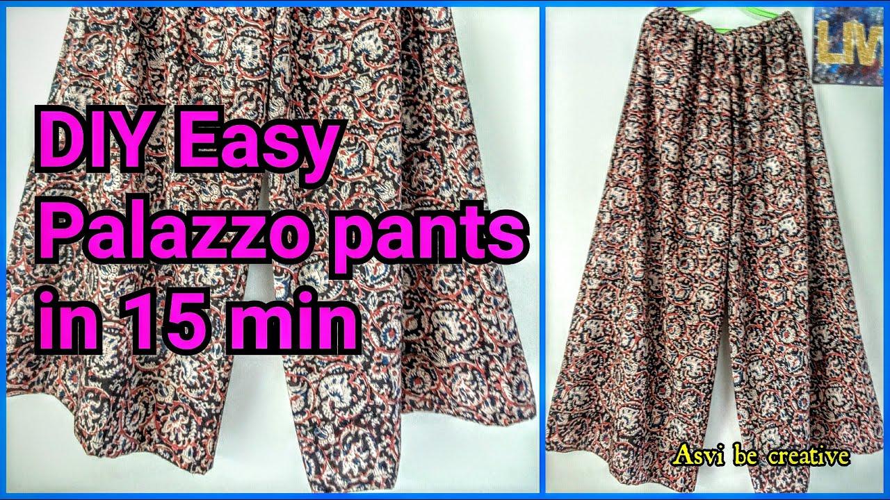 how todiy easy palazzo pants in 15 minbeginnersplit