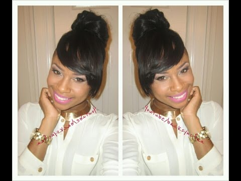 Updo Hairstyles With Bangs For Black Women 43