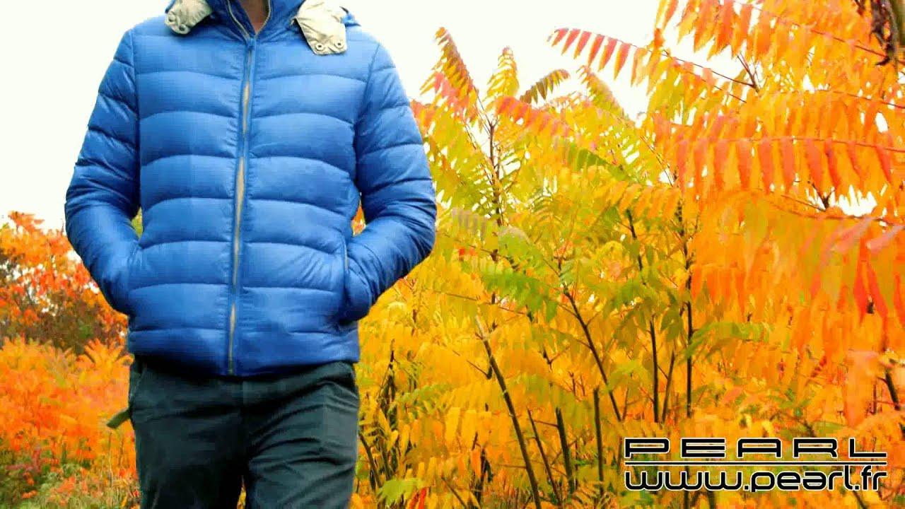 277e8eb7e9e9a NX7160 - Doudoune ultralégère en duvet avec col montant et capuche - Bleu -  Taille S