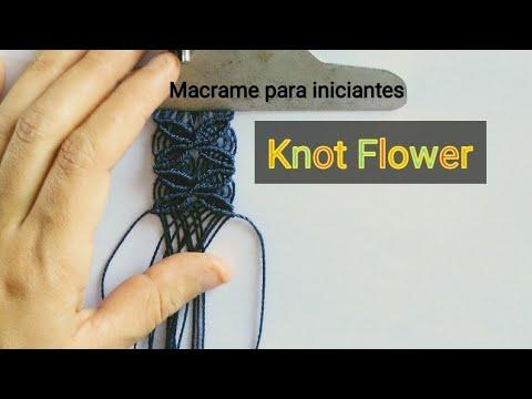 Flower Knot macrame design tutorial/Como fazer design de flor em macrame thumbnail