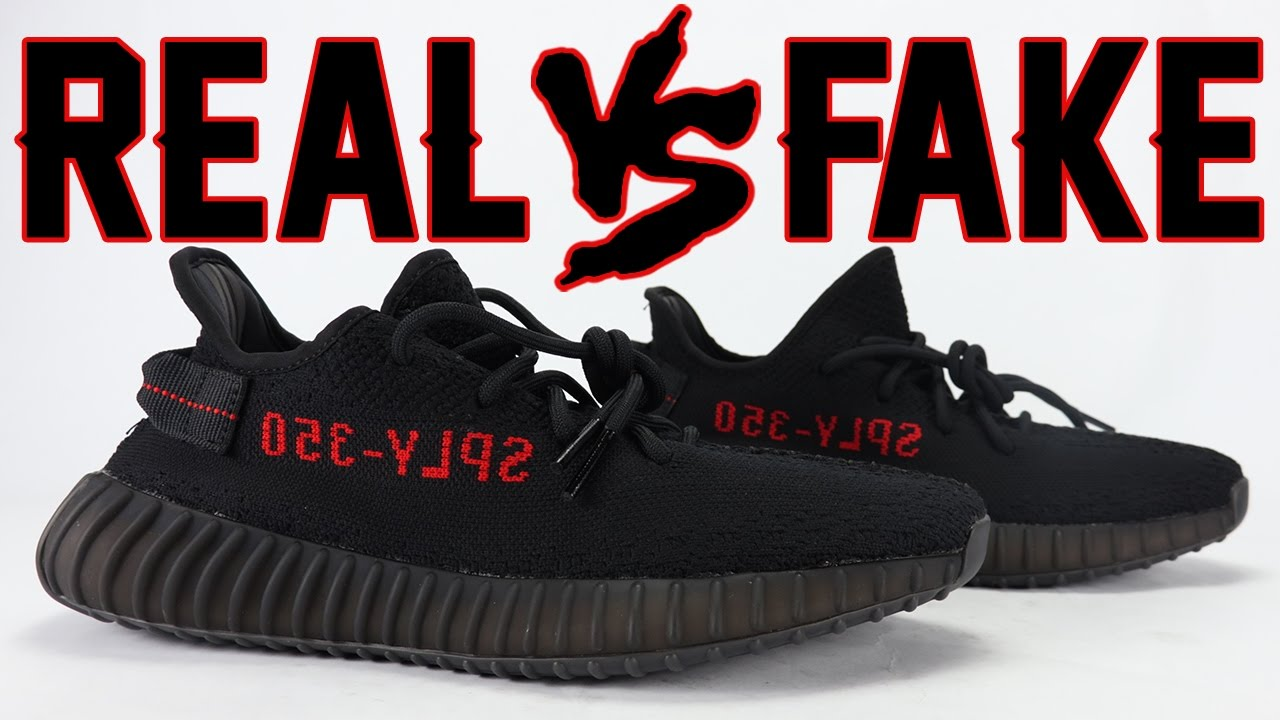 5b47e4438 Real vs Fake adidas YEEZY Boost 350 V2 Bred Legit Check - YouTube