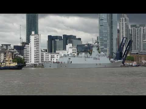 Type 054A Frigate Huanggang (577) leaving London West India Dock