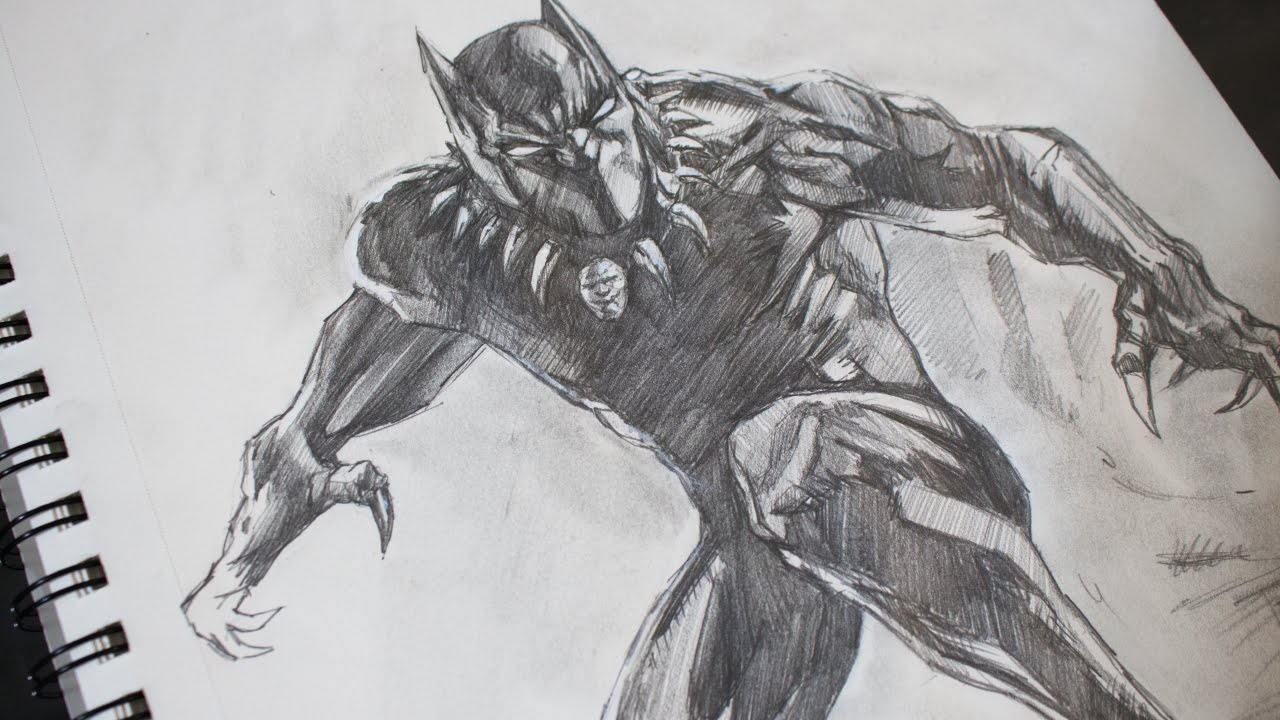 Sketching Black Panther Pencil - Marvel - YouTube