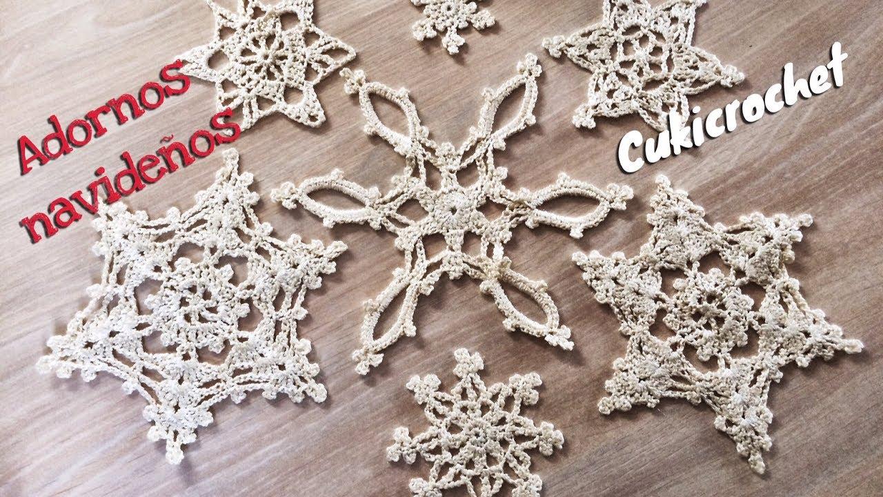 adornos de navidad de ganchillo ADORNO NAVIDEO ESTRELLA NAVIDAD A CROCHET GANCHILLO PASO A PASO FACIL