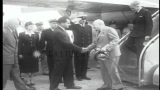 British Prime Minister Winston Churchill and Sir Anthony Eden met by Vice Preside...HD Stock Footage