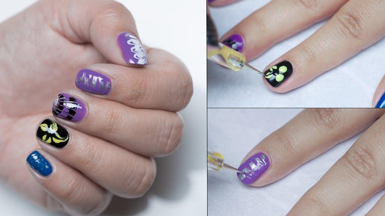 diy dry marble nail art design