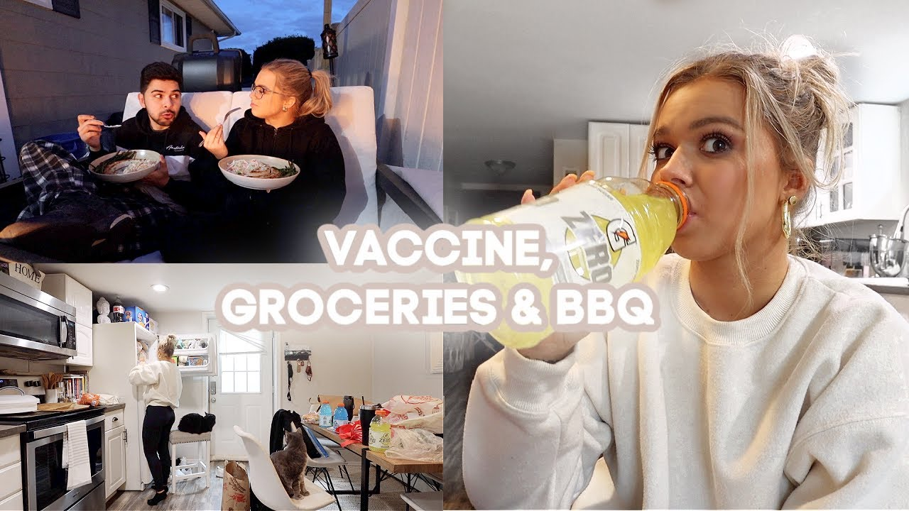 Getting My Second Covid Vaccine, BBQ Fire Pit Chats & Grocery Haul (trader joe's & uncle guiseppe's)